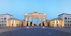 Berlin, Germany. Branderburger Tor panorama at dusk. Pariser Pla